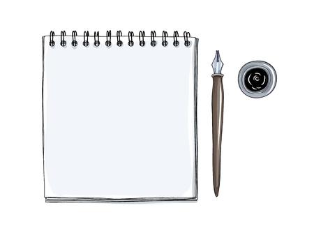 art sketchbook Mockup papier blanc et vintage Dip encre Nib Pen dessiné à la main vector art illustration