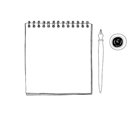 アート スケッチ ブック モックアップ白紙とビンテージ Dip インク ペン先ペンを持つ手の描画ベクトル ライン アート イラスト  イラスト・ベクター素材