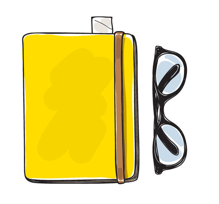 writing pad: yellow notebook and vintage glasses vector hand drawn  art illustration