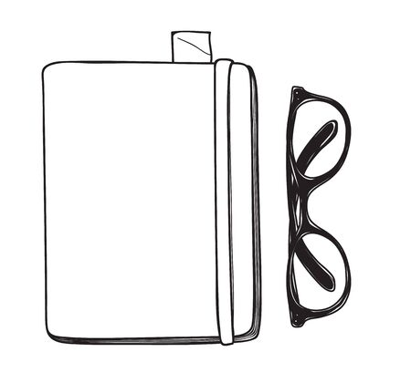 writing pad: yellow notebook and vintage glasses vector hand drawn line art illustration Illustration