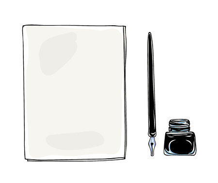 note pad and pen: Notebook dip tip pen vintage and ink bottle  vector hand drawn  art illustration