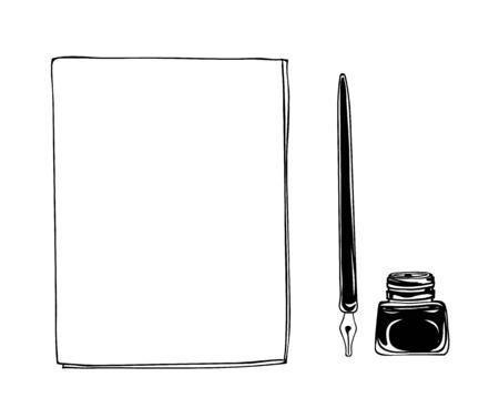 Notebook dip tip pen vintage and ink bottle  vector hand drawn line art illustration