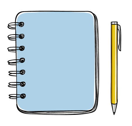 note pad and pen: blue notebook and pen vector hand drawn  art illustration