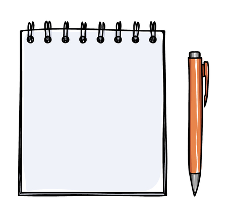 note pad and pen: Blank notebook and pen vector handdrawn  art illustration
