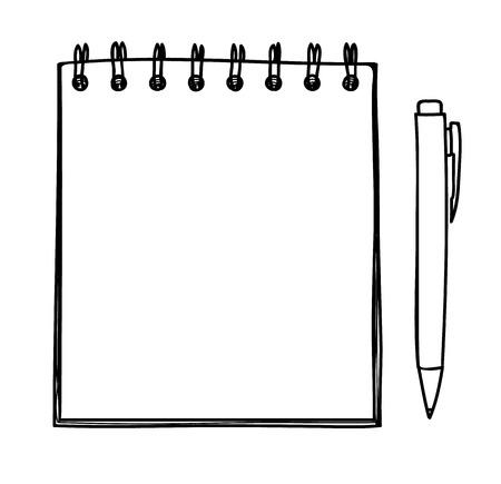 Blank notebook and pen vector handdrawn line art illustration