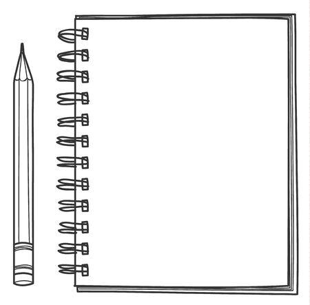 Notebook and pencil hand drawn vector line art illustration 矢量图像