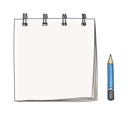 pensil: small notebook hand drawn  and pensil art illustration Illustration