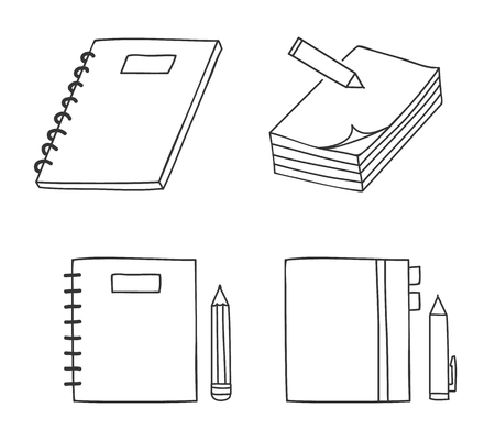 sketchpad: icon notebook and pen.pencil thin line hand drawn vector set art illustration Illustration
