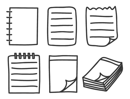 sketchpad: icon notebook thin line hand drawn vector set art illustration