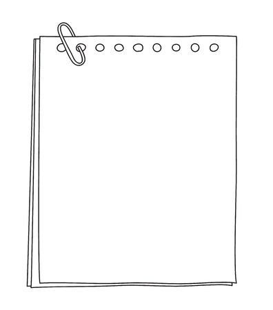 paper notebook hand drawn cute line art illustration Illustration