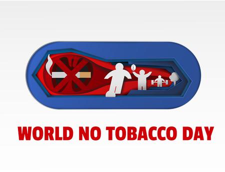 World no tobacco day art paper cut illustration