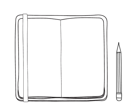 Yellow notebook and pencil hand drawn cute vector line art illustration 矢量图像