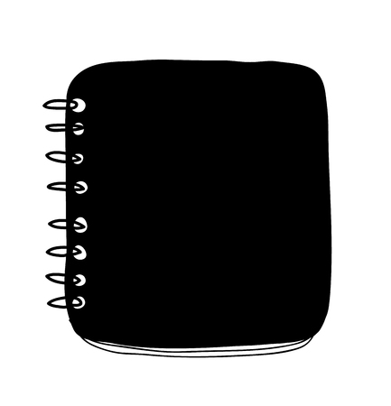 Black  notebook hand drawn cute vector isolated Illustration