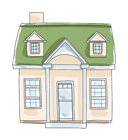 single dwellings: Tiny house cottage vintage  hand drawn vector art illustration