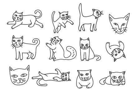 귀여운 고양이 손으로 그려진 된 아이콘 벡터 설정 라인 아트 그림