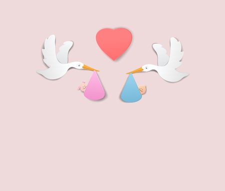 Stork With Baby Girl and boy paper art cute vector paper cut illustration Illustration