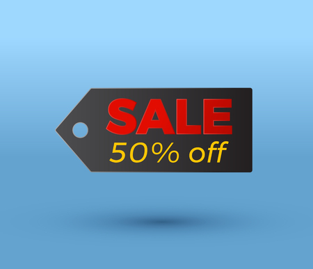 price tag sale 50% off vector illustration