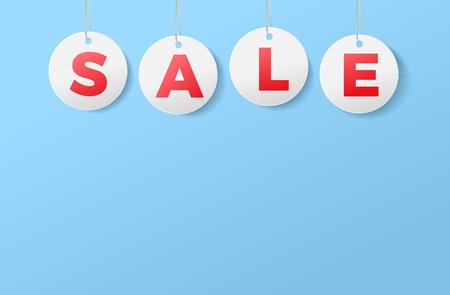 sale template tag on blue backgrounds for banner or poster vector illustration Illustration