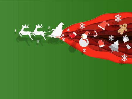 Santa riding a Sleigh christmas cute paper cut vector illustration