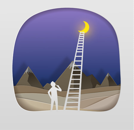 ceo: Men are climbing the ladder to the moon.Business Concept vector paper art cute illustration paper cut Illustration