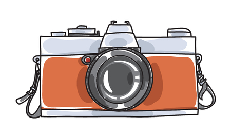 classic vintage camera hand drawn art vector illustration
