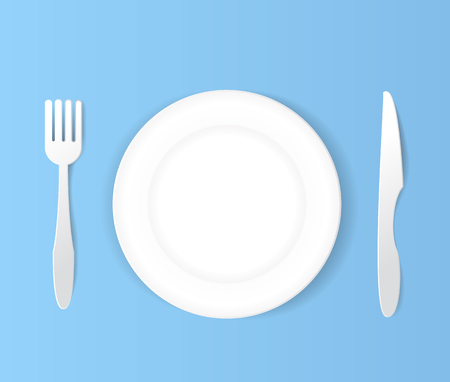 flatwares: plate  knife and fork white set.paper art vector illustration
