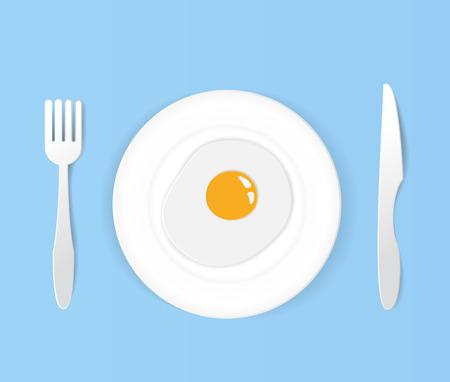 Fried egg  on  plate.with knife and fork art white set.paper art vector illustration