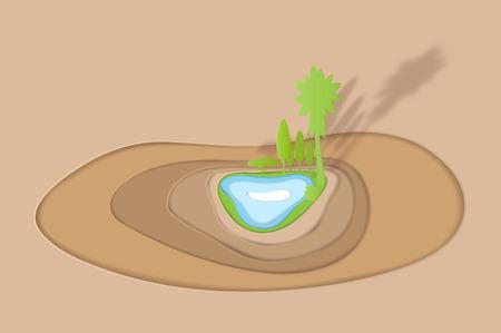 oasis desert paper art vector illustration paper cut Çizim