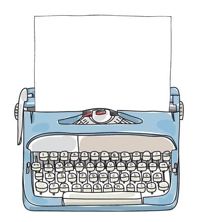 Machine à écrire de travail bleu clair avec papier dessinés à la main illustration vectorielle mignon Vecteurs