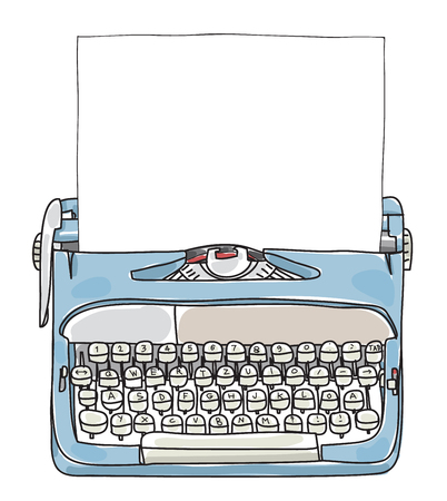 Scrittore di lavoro blu chiaro con carta disegnata a mano illustrazione vettoriale carino Vettoriali