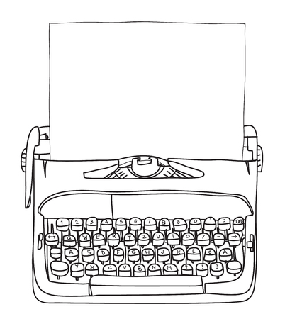 Working Typewriter with paper  hand drawn vector cute art illustration Illustration