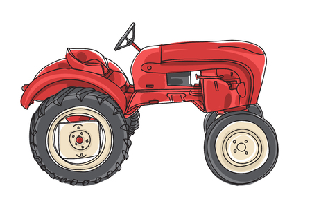 red Tractor  Vintage hand drawn vector art illustration