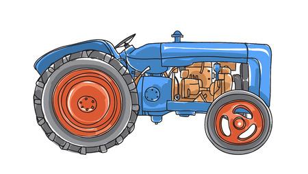 blue Tractor  Vintage hand drawn vector  art illustration Illustration