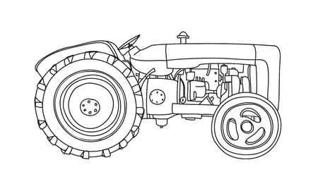 Tractor  Vintage hand drawn cute vector line art illustration Illustration