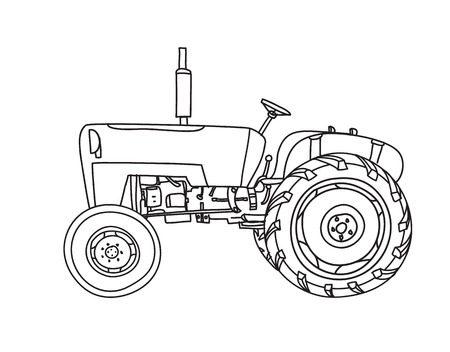 old Tractor Vintage hand drawn cute vector line-art illustration