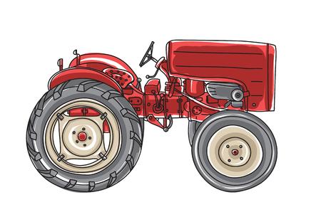 mimi red Tractor  Vintage hand drawn vector art illustration