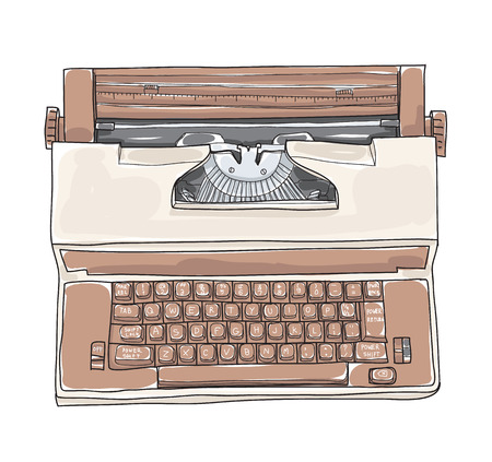Brown Vintage Electric Typewriter Royal Academy Typewriter hand drawn cute art vector illustration