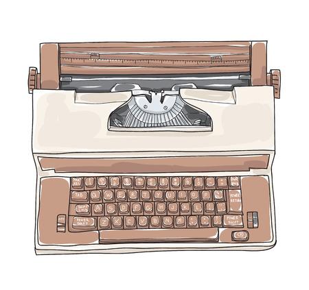 De bruine Uitstekende Elektrische van de de Schrijfmachinehand van de Schrijfmachine Koninklijke Academie hand getrokken leuke kunst vectorillustratie