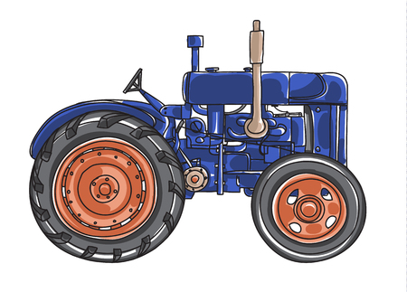 traction engine: Dark blue old Tractor  Vintage hand drawn cute vector line art illustration