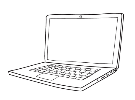 responsive: Laptop cute hand drawn vector line art illustration
