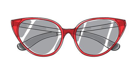 red cat eye sunglasses hand drawn art vector illustration