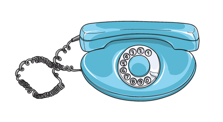 blue rotary dial phone Vintage telephones Retro hand drawn vector art illustration Illustration