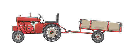 Antique Tractors  with Tipping Trailer Vintage  hand drawn vector art illustration