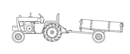 Antique Tractors  with Tipping Trailer Vintage  hand drawn vector line art illustration Illustration