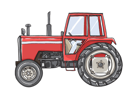 Orange Tractors Antique  Vintage  hand drawn vector art illustration Illustration