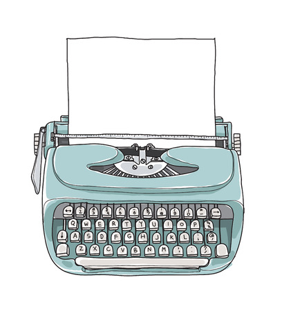 type writer: Mint blue vintage  typewriter portable retro with paper hand drawn vector art illustration