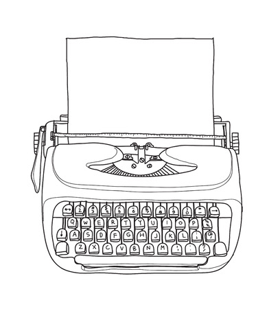 type writer: Vintage  typewriter portable retro with paper hand drawn vector line art illustration Illustration