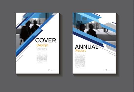 ブルー抽象的なカバー デザインの近代図書カバー抽象パンフレット カバー テンプレート、アニュアル レポート、雑誌やチラシのレイアウト。  イラスト・ベクター素材