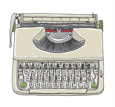 Crème typewriter vintage hand getekende schattige vector lijn kunst illustratie Stock Illustratie