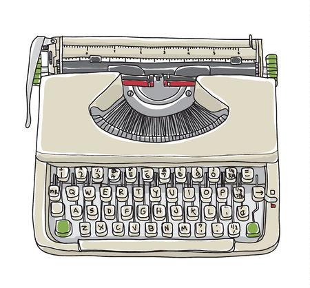 Crème typewriter vintage hand getekende schattige vector lijn kunst illustratie Stockfoto - 86278557